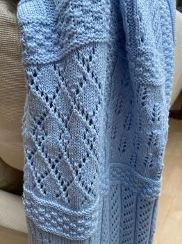 Kocyk Babu, 100% bawełna organiczna. Jasno niebieski