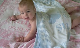 PERSONALISED BABY BLANKETS -  with name, date of birth, weight and length