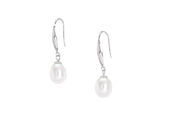 Drop shape Fresh water pearl earrings set in white gold