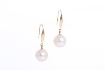 South Sea natural golden color pearl earrings set in gold 10-11mm