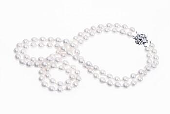 Collar doble de perlas Akoya de 6.5-7 mm con cierre de oro blanco