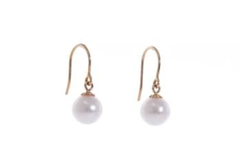 AAA-Quality Akoya pearl earrings set in gold hooks 7-7.5mm