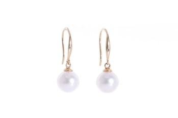 AAA-Quality Akoya pearl earrings set in gold hooks 8-8.5mm