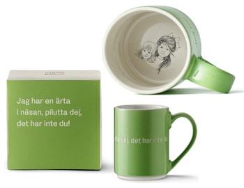 Astrid Lindgren Citat Mugg - Jag har en ärta i näsan, pilutta dej, det har inte du!