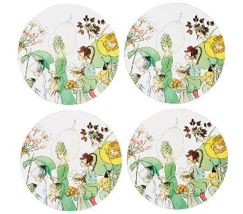Elsa Beskow Glasunderlägg 4-Pack, Blomsterfesten