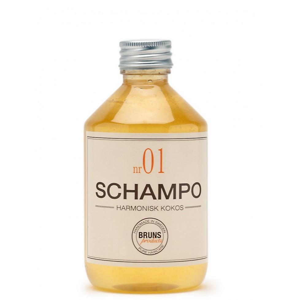 Bruns Products Schampo 01 Harmonisk Kokos 330ml - För känslig hårbotten, mjäll, tunt & normalt hår