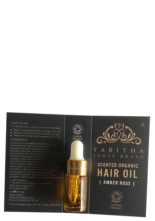 Tabitha James Kraan Sample Scented Organic Hair Oil Amber Rose 3ml inkl kort