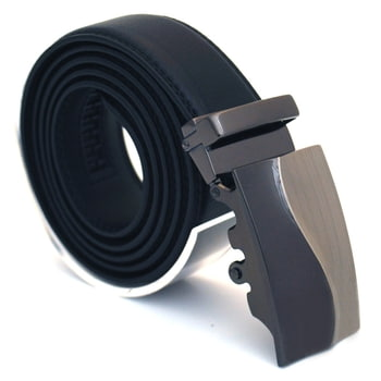 Läderbälte stripe svart 979