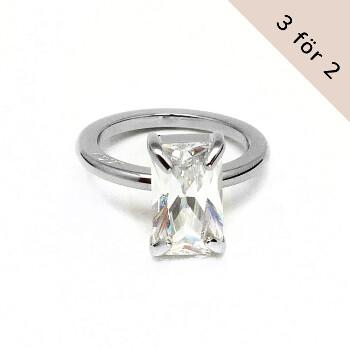 Klassisk solitärring i stål med stor zirconia diamant | Staplingsbar vigselring dam - Vigselringar förlovningsringar | C Stockholm på guldfynd / Edblad