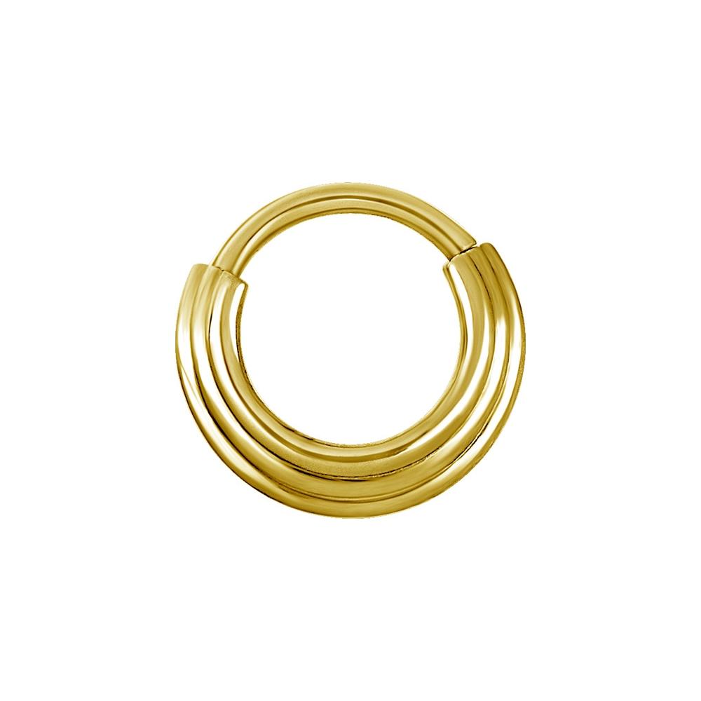 Clicker hinged piercingring - 1,2 mm - 8 mm - guld PVD
