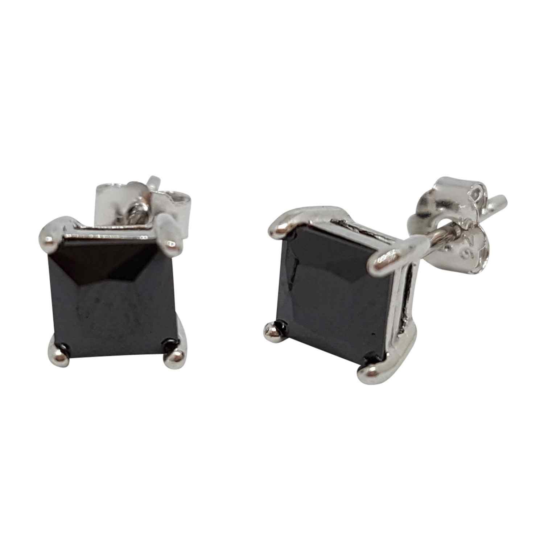 Örhänge silver 6 mm kvadratisk svart kristall