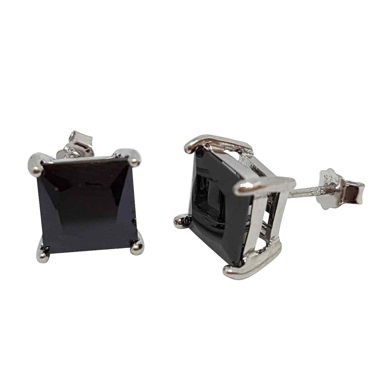 Örhänge silver 8 mm kvadratisk svart kristall