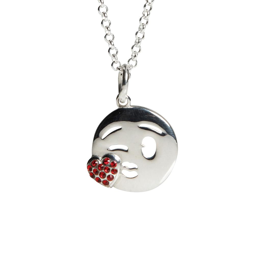 Halsband i äkta silver med emoji- slängpuss