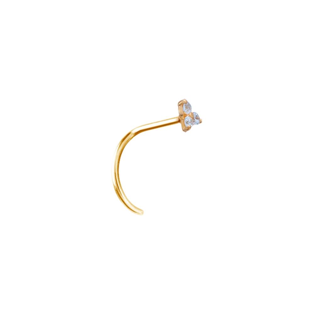 Näspiercing - 0,8 mm - 18K äkta guld - trinity kristall