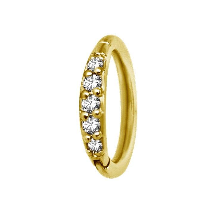 Clicker - 1,2 - öppningsbar - guld - vita kristaller