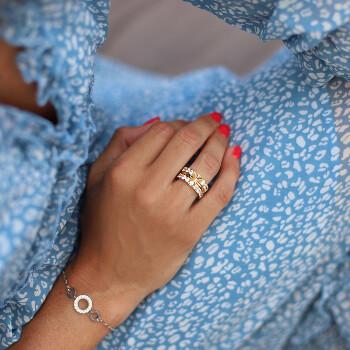 Semi alliansring guldring guld på stål med zirconia diamant | Staplingsbar Ring dam - Vigselringar förlovningsringar | C Stockholm smycken online - blå klänning