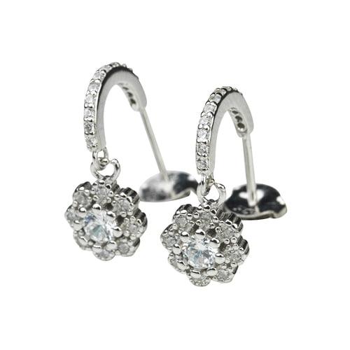 Örhänge i äkta silver - blomma - kristaller