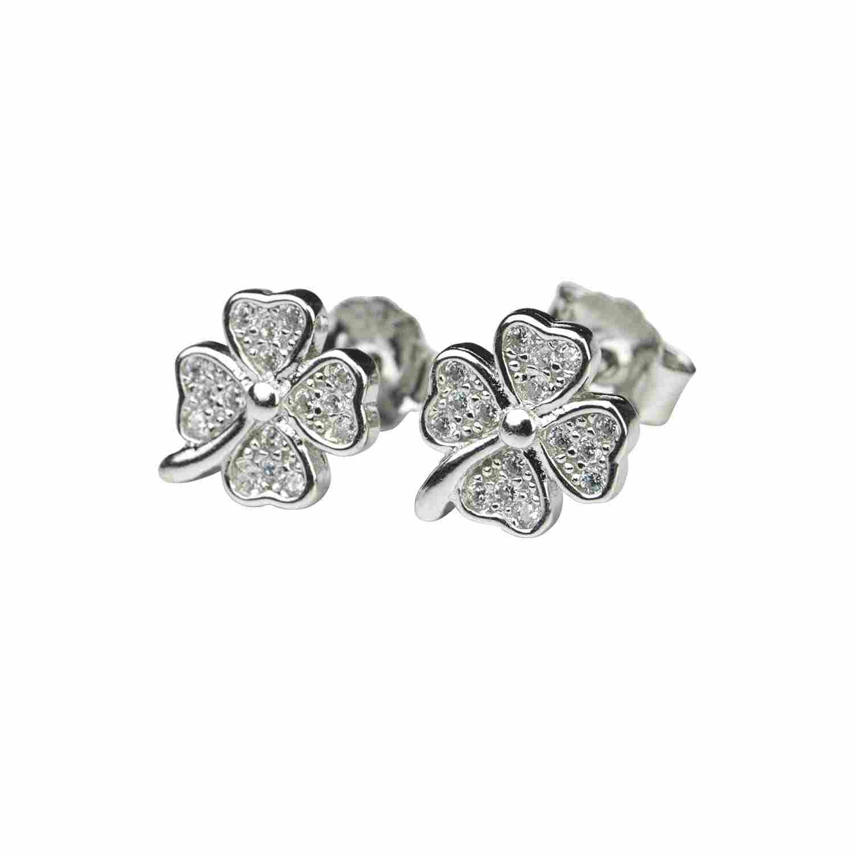 Örhänge i äkta silver - fyrklöver