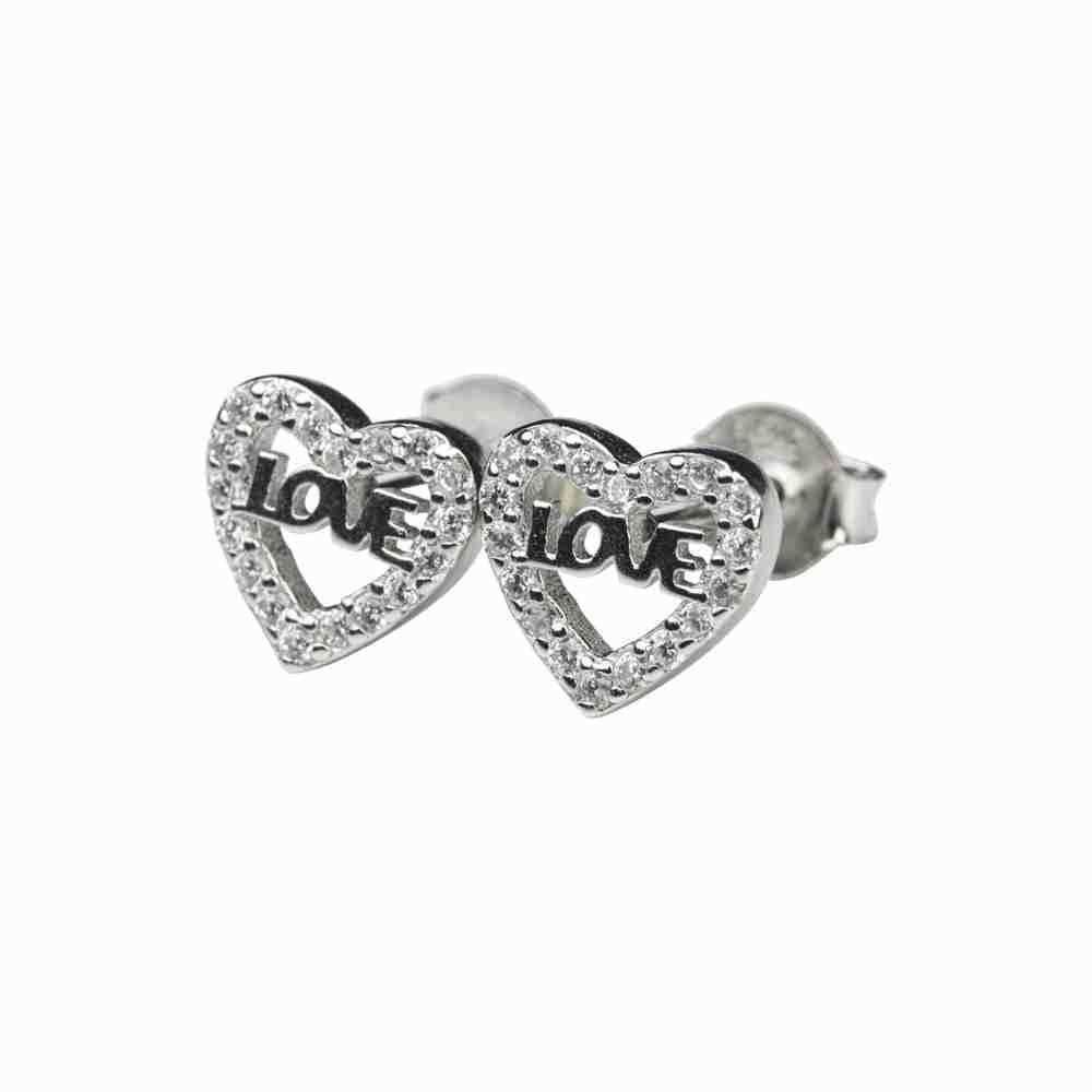 Örhänge i äkta silver - hjärta - Love