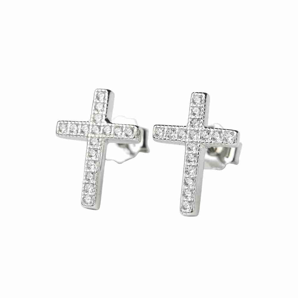 Örhänge i äkta silver - glittrigt kors