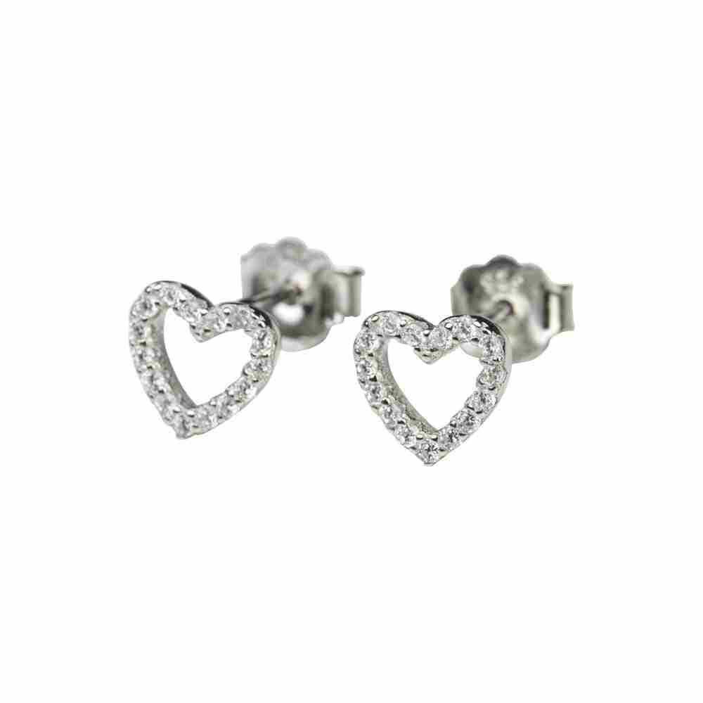 Örhänge i äkta silver - glittrigt hjärta