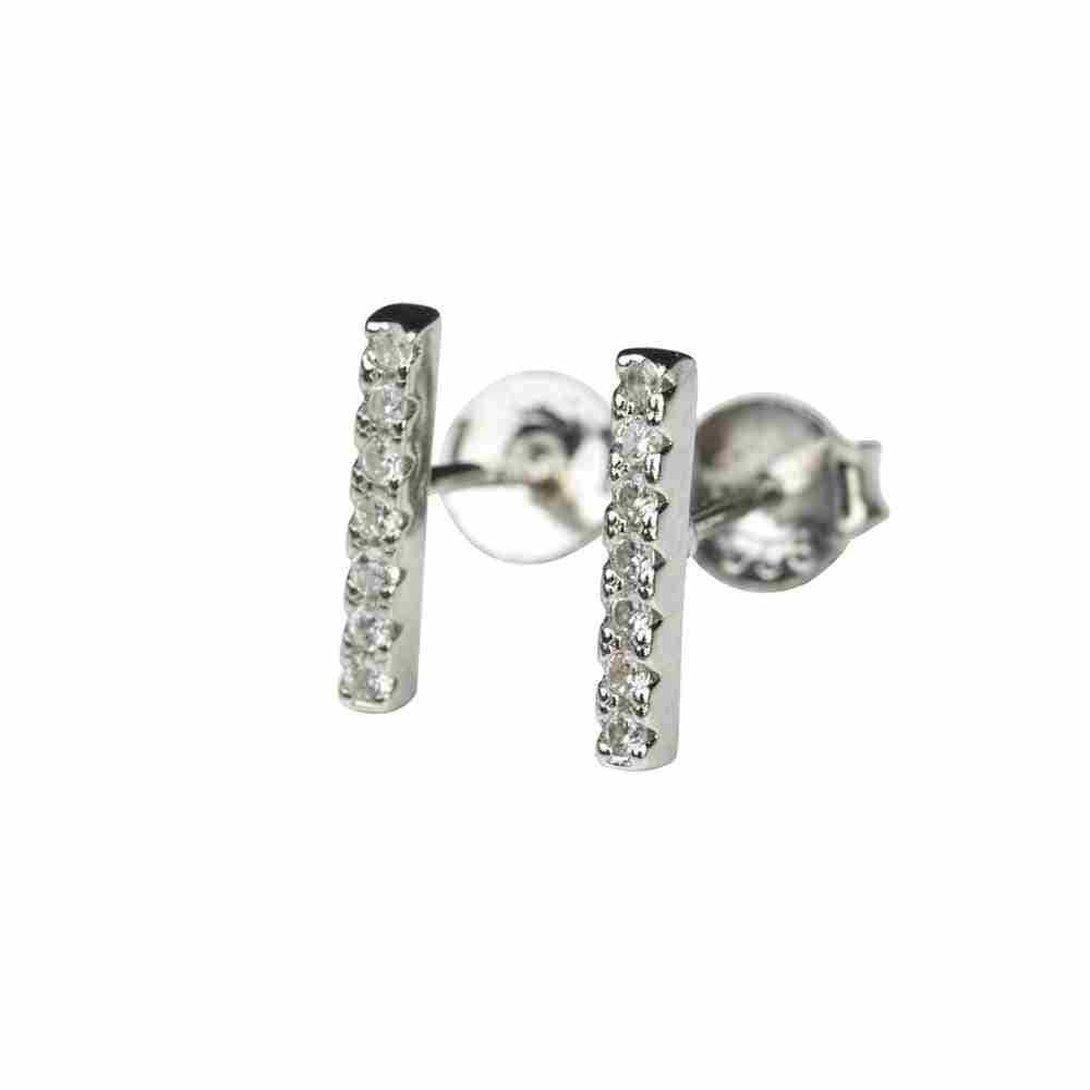 Örhänge äkta silver - stavar med 7 kristaller