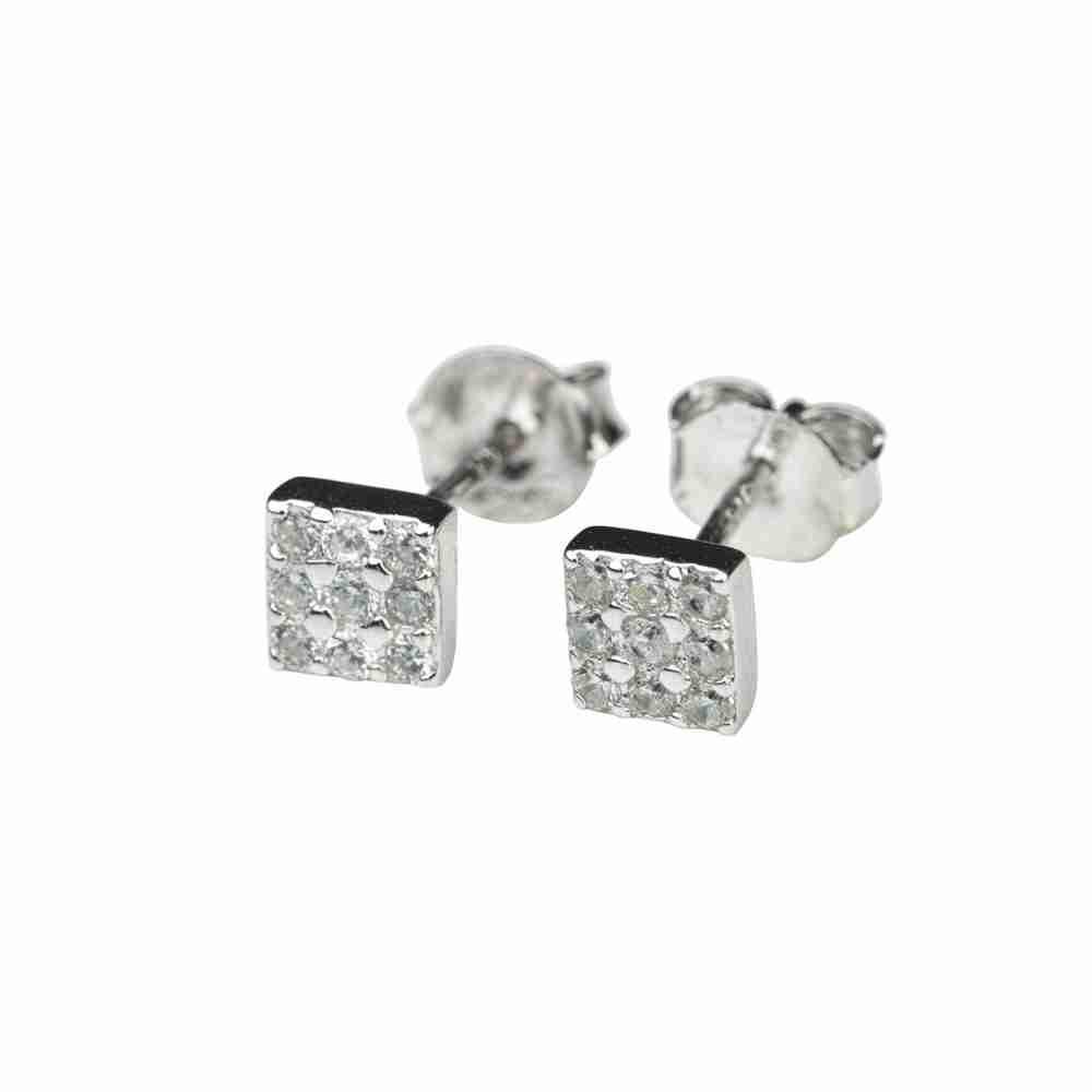 Örhänge i äkta silver - kvadrat med kristaller
