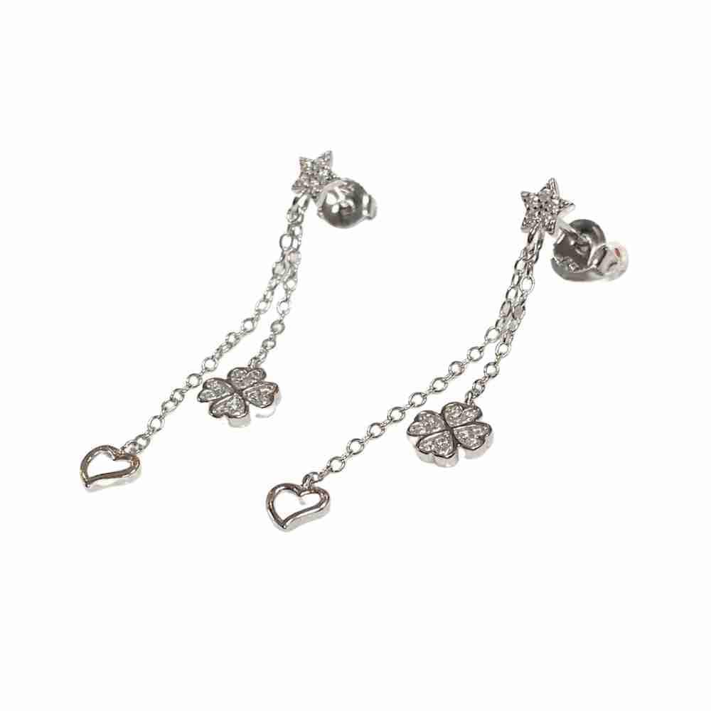 Örhängen - fyrklöver, stjärnor och hjärtan - äkta silver