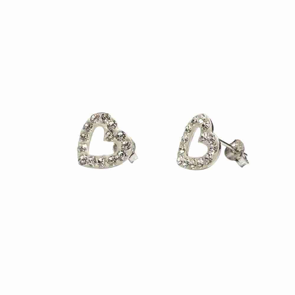 Silverörhängen - hjärtan - kristaller -äkta silver