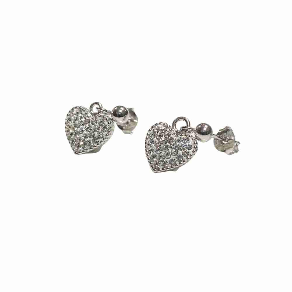 Silverörhängen - kristallhjärta hänge - äkta silver