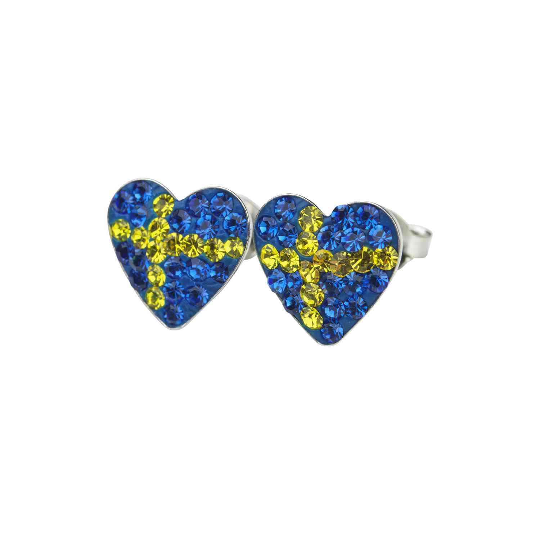 Silverörhängen - svenska flaggan - äkta silver