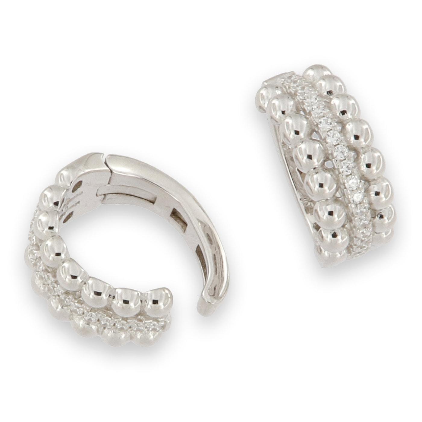 Earcuff - äkta silver - med kristaller - fake earcuff