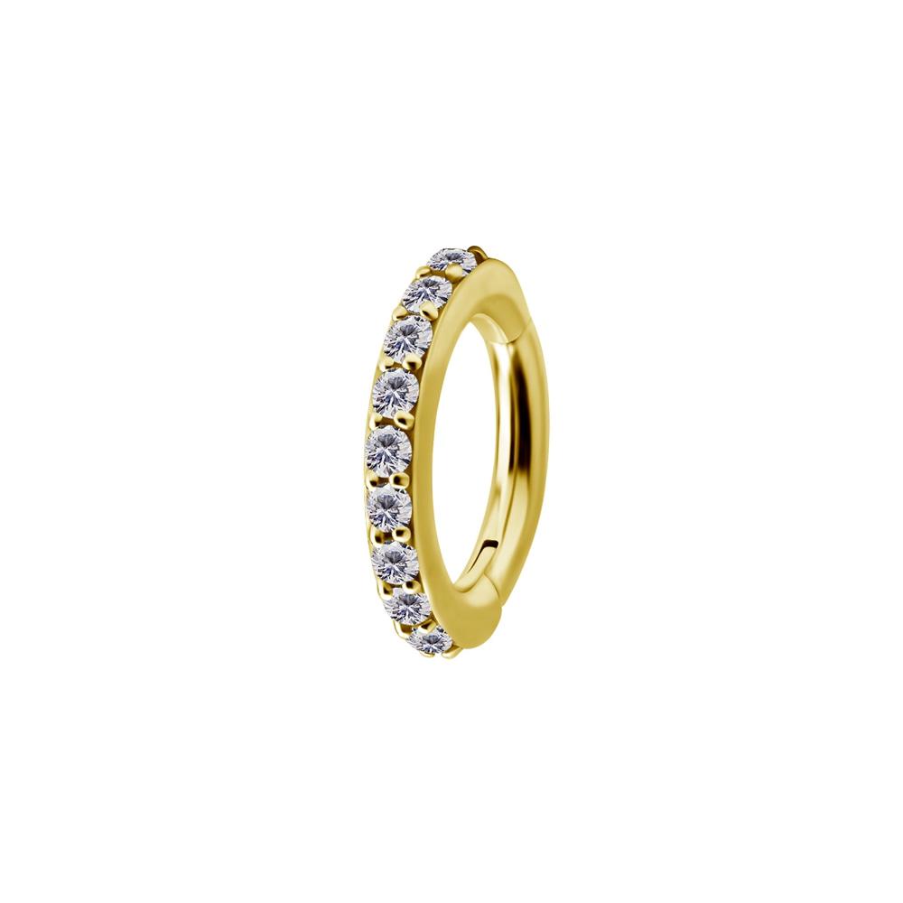 Navelpiercing - clicker - oval med kristaller -koboltkrom 24K guld PVD