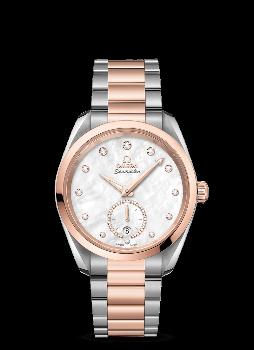 Omega Seamaster Aqua Terra 150M Co‑Axial Master Chronometer Small Seconds 38 mm Pärlemor Stål och 18 K Sedna™guld