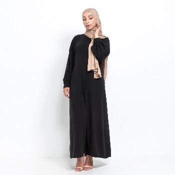 Medina Kimono abaya med knappar - Svart