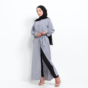Medina Kimono abaya with buttons - Lightgrey