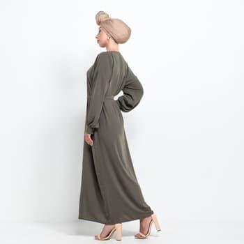 Medina Kimono abaya med knappar - Khaki