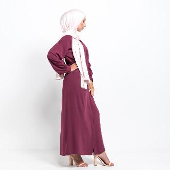 Medina Kimono abaya med knappar - Rose Plum