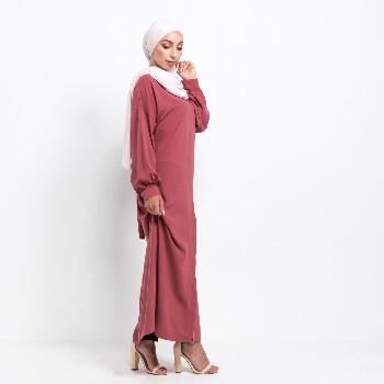 Medina Kimono abaya med knappar - Rosé Pink