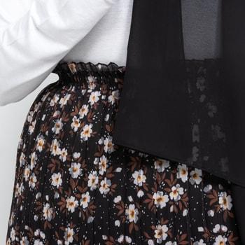 Blommig plisserad pennkjol med elastisk midja - Svart