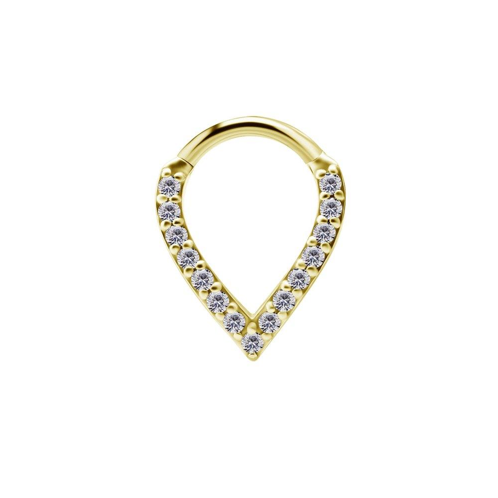 Clicker Oval med kristaller - 24K guld PVD kirurgiskt stål
