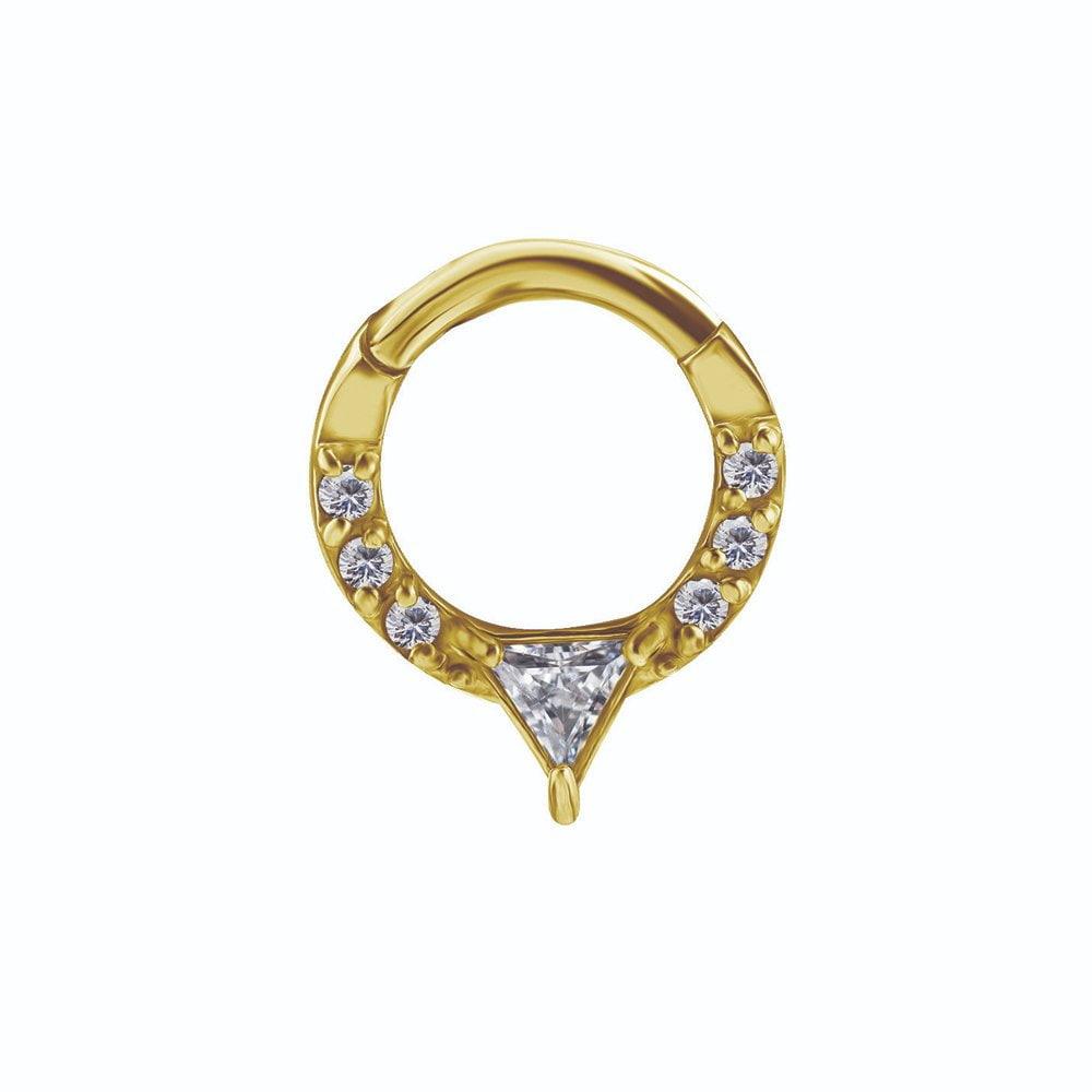 Clicker med kristaller - 24K guld PVD kirurgiskt stål