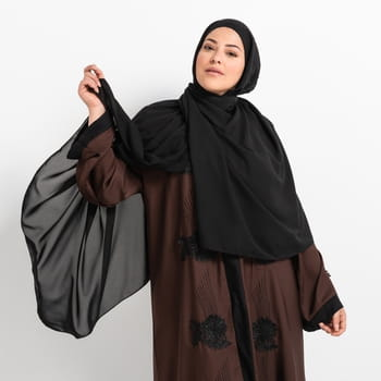 Luxe Chiffon hijab with integrated bonnet - Black