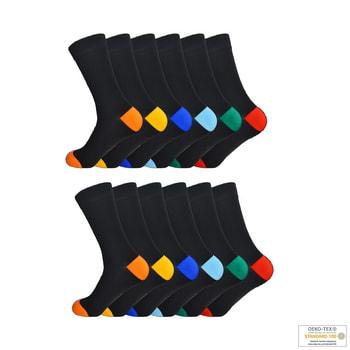 12-Pack svarta strumpor med färgad häl GIANVAGLIA®