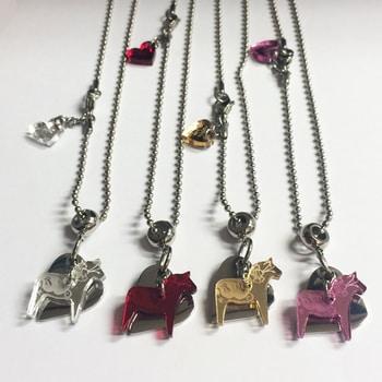 Necklace with Dala horse in mirror plexiglass heart in steel, model Love