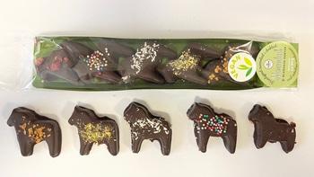Marmeladgodis doppade i choklad - 5 stycken Dalahästar
