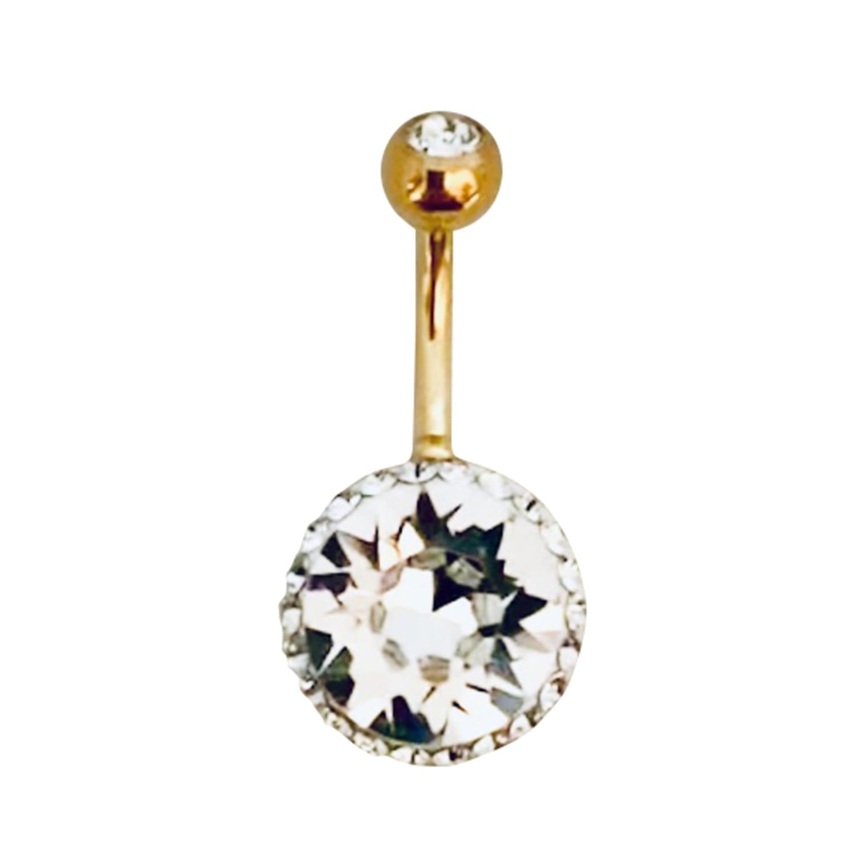Navelpiercing - swarovskikristall - 1,6 mm - vit kristall - guld