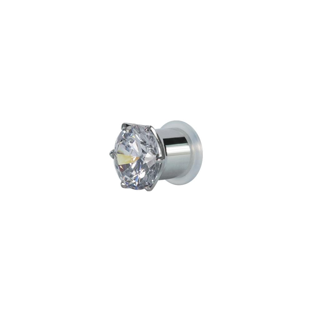 Fleshtunnel - Stora - 12-16 mm - stål - vit kristall