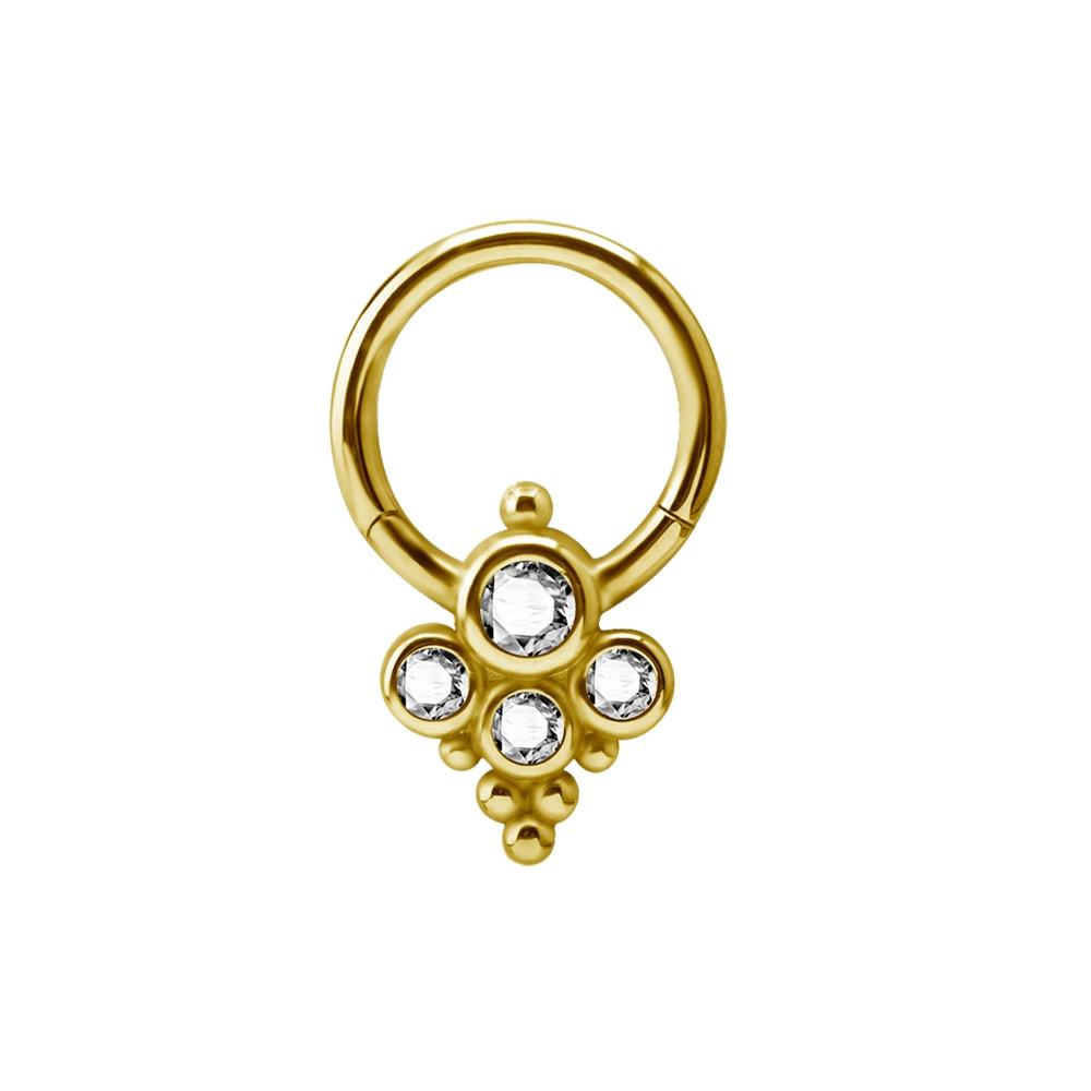 Clicker - 1,2 mm - öppningsbar - guld - vita kristaller