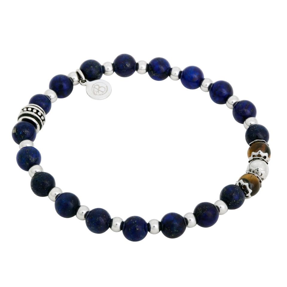By Billgren Elastiskt, armband blå, brun och stål